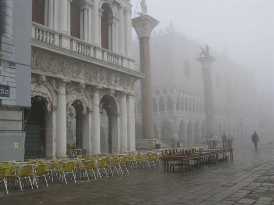 San Marco docks in fog