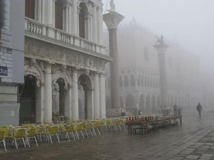 San Marco docks in fog