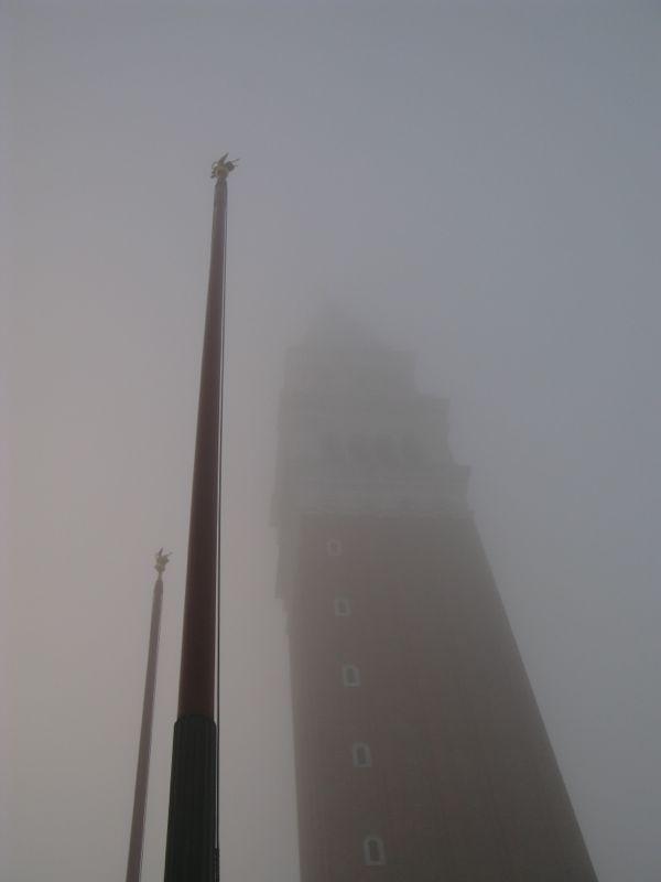 San Marco flagpoles foggy