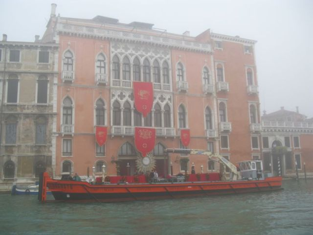 Venice grand canal red building